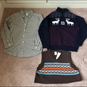 Bundle of 3 gymboree sweater, shirt, vest boy 7-8